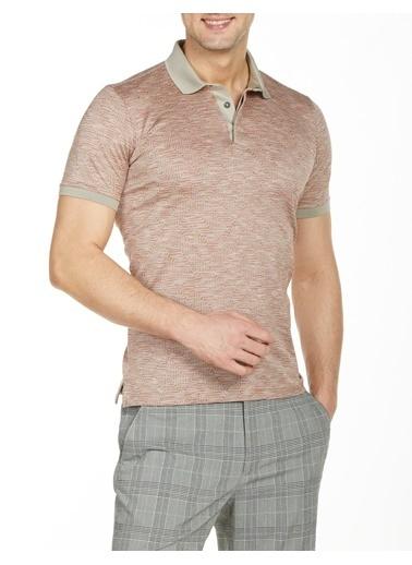 Bisse Regular Fit Desenli Polo Yaka T-Shirt Bej